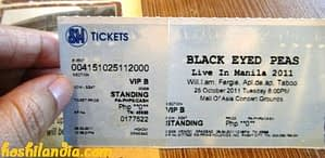 BEP live in Manila concert ticket